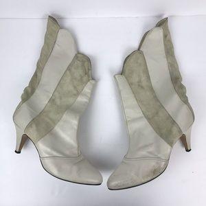 Vintage 1980s suede scallop cream kitten heel boot